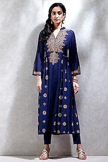 Blue Embroidered Kurta With Leggings & Inner by Ritu Kumar