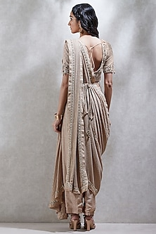 Beige Embroidered Dhoti Saree Set by Ritu Kumar