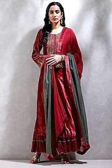 Red Printed Sharara Set by Ritu Kumar