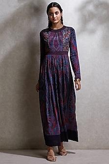 Purple Embroidered & Printed Kurta by Ritu Kumar