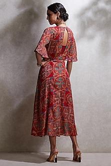 Red Printed Tie-Up Kurta WIth Camisole by Ritu Kumar