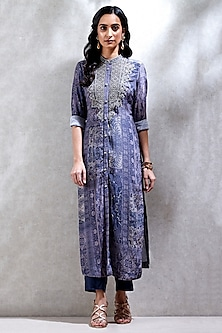Blue Printed Kurta With Pants by Ritu Kumar