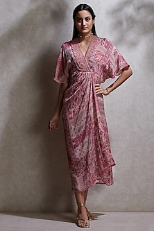 Pink Printed & Embroidered Kurta by Ritu Kumar