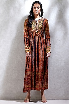 Orange Printed Kurta With Neck-Tie by Ritu Kumar
