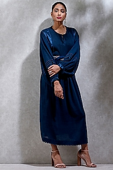 Blue Flared Long Kurta by Ritu Kumar