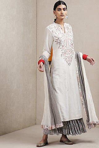 Off White & Black Embroidered Printed Sharara Set by Ritu Kumar