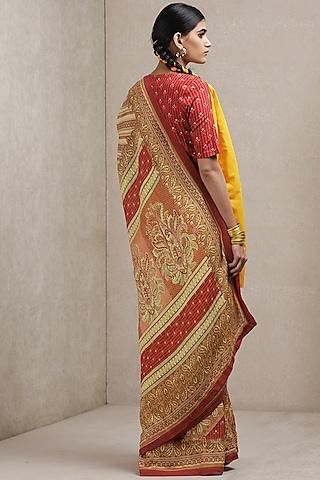 Red Geometric Printed Saree by Ritu Kumar
