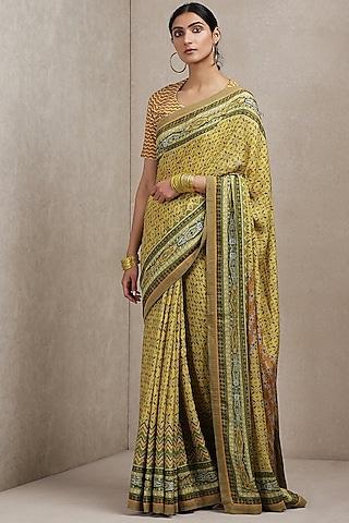 Yellow Printed Saree by Ritu Kumar