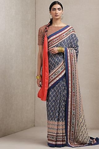 Blue Printed Saree by Ritu Kumar