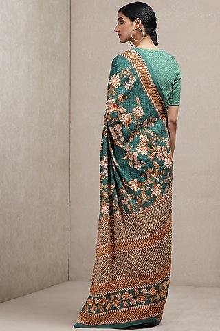 Green Floral Printed Saree by Ritu Kumar