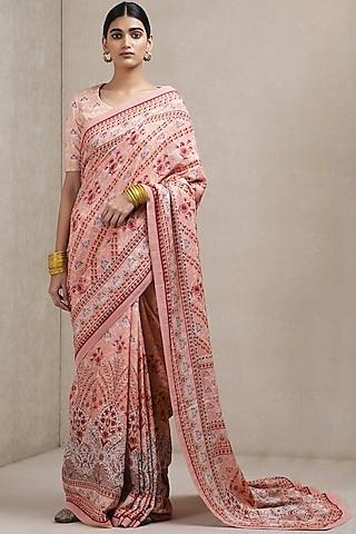 Pink Floral Printed Saree by Ritu Kumar