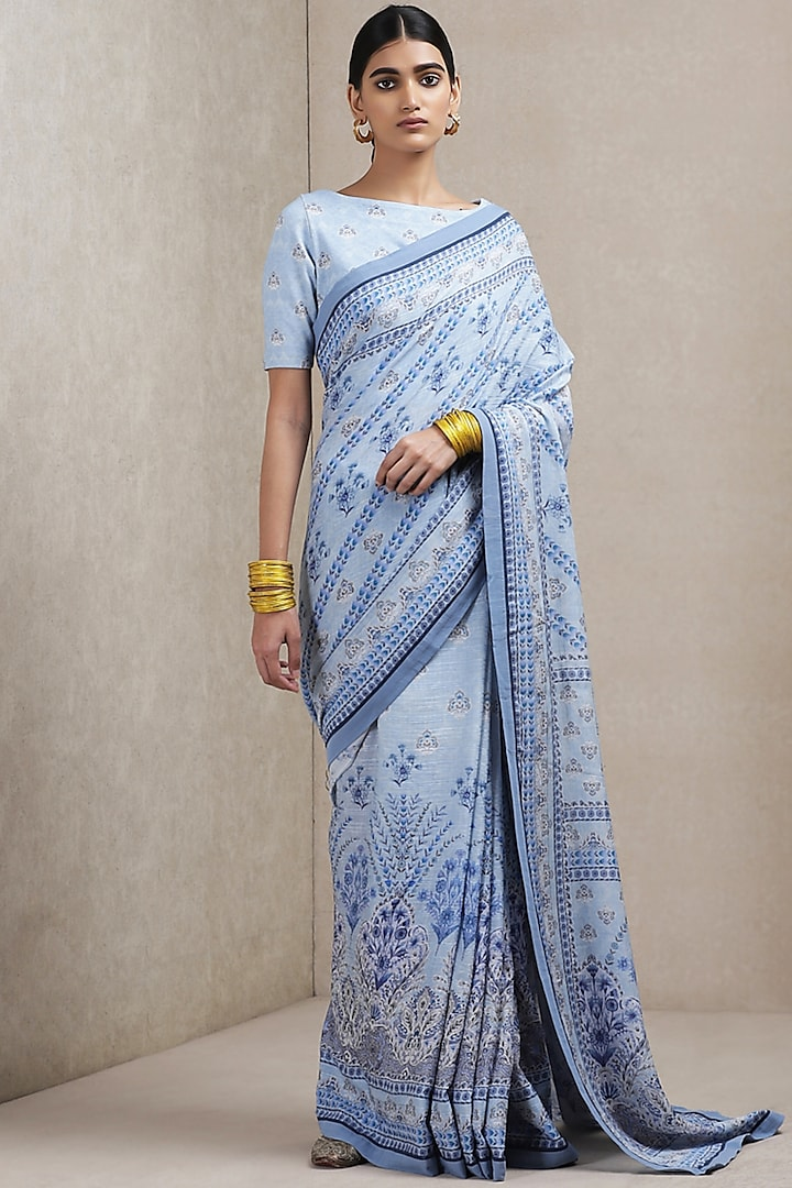 Light Blue Floral Printed Saree by Ritu Kumar