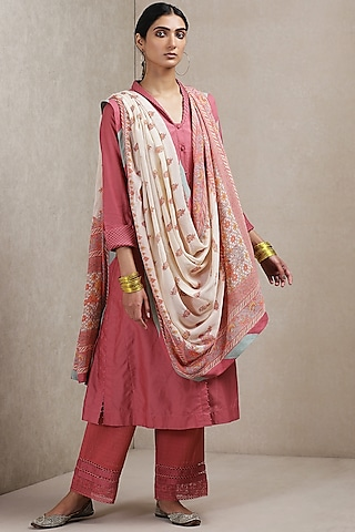Pink Floral Printed Kurta Set by Ritu Kumar