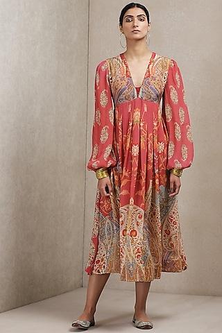 Pink Paisley Printed Dress by Ritu Kumar