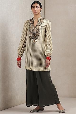 Beige & Khaki Printed Kurta by Ritu Kumar