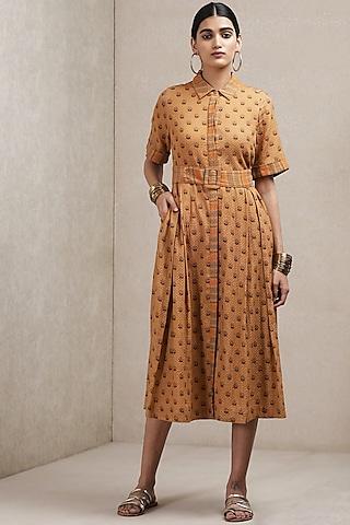 Brown Floral Printed Dress by Ritu Kumar