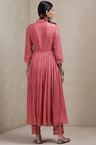 Pink Kurta Set With Printed Dupatta by Ritu Kumar