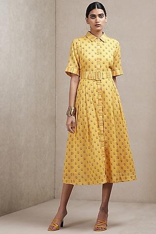 Yellow Floral Printed Dress by Ritu Kumar