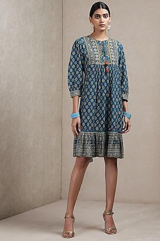 Teal Blue Embroidered & Printed Dress by Ritu Kumar