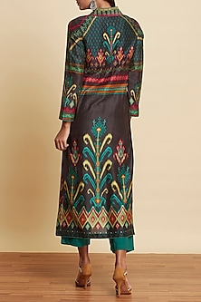 Black Ikat Printed Kurta With Pants by Ritu Kumar