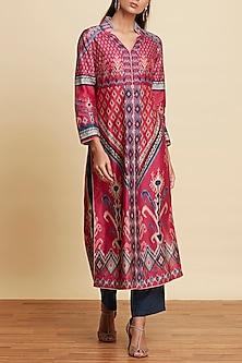Fuchsia Ikat Printed Kurta With Pants by Ritu Kumar