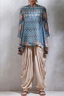 Turquoise Ikat Printed Kurta by Ritu Kumar