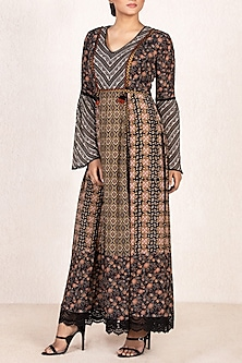 Black & Brown Printed Kurta With Inner by Ritu Kumar