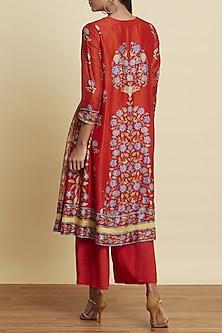 Red Floral Printed Kurta Set by Ritu Kumar