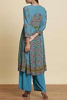 Turquoise Printed Kurta Set by Ritu Kumar