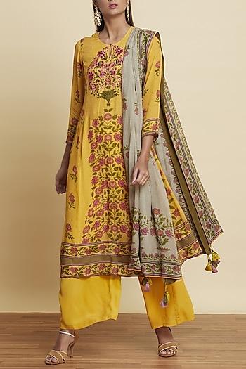 Yellow Floral Printed Kurta Set by Ritu Kumar