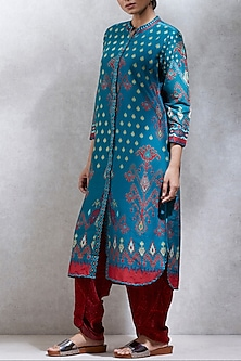 Teal Blue Ikat Printed Kurta by Ritu Kumar