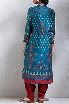 Teal Blue Ikat Printed Kurta by Ritu Kumar
