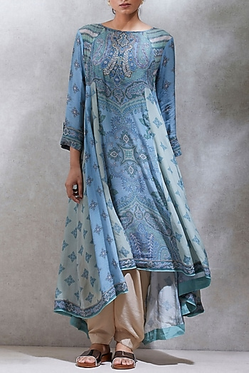 Blue & Sea Green Printed Kurta With Dhoti Pants by Ritu Kumar