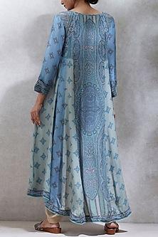 Blue & Sea Green Printed Kurta With Dhoti Pants by Ritu Kumar