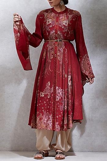 Red Oriental Printed Kurta by Ritu Kumar