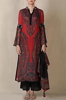 Red & Black Printed Kurta Set by Ritu Kumar