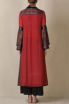 Red & Black Printed Kurta Set by Ritu Kumar