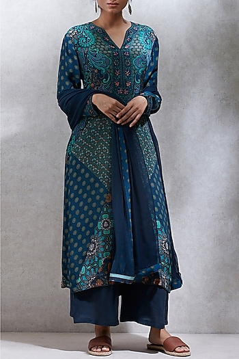 Jade Green Printed Kurta Set by Ritu Kumar