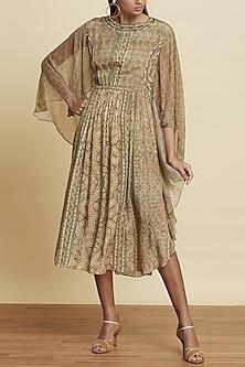 Beige & Green Printed Dress by Ritu Kumar