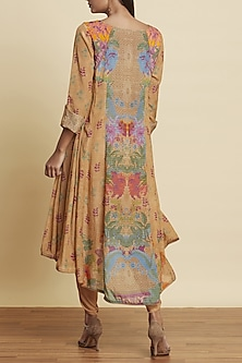 Ochre Brown Printed Kurta With Dhoti Pants by Ritu Kumar