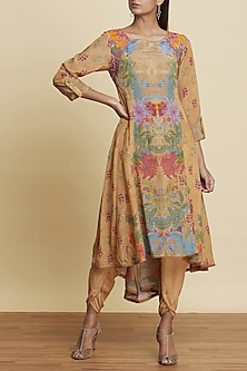 Ochre Brown Printed Kurta by Ritu Kumar