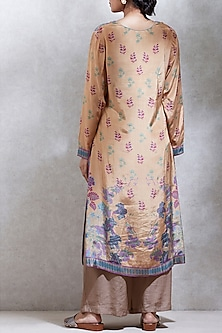 Ochre Brown Floral Printed Kurta Set by Ritu Kumar