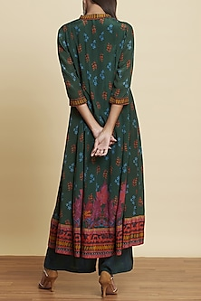 Bottle Green Floral Printed Kurta Set by Ritu Kumar