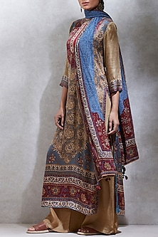 Beige & Burgundy Printed Kurta Set by Ritu Kumar