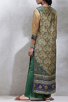 Olive Green & Purple Printed Kurta Set by Ritu Kumar
