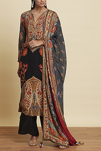 Black Floral Printed Kurta Set by Ritu Kumar