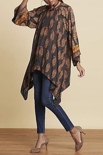 Black Printed Asymmetric Kurta by Ritu Kumar