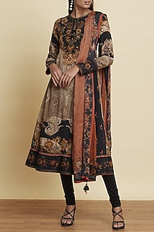 Black & Beige Embroidered Printed Kurta Set by Ritu Kumar