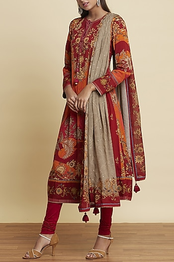 Red Embroidered Printed Kurta Set by Ritu Kumar