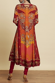 Red Embroidered Printed Kurta Set by Ritu Kumar